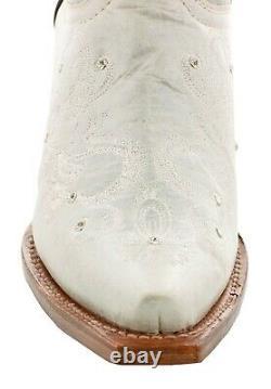 Bottes De Cow-boy Femmes Mariage Je Fais Strass Floral Paisley Off White Snip Toe