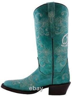 Bottes De Cowboy Femmes Mariage Je Fais Strass Floral Paisley Tourquoise Carré Toe