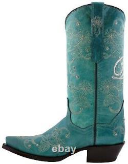 Bottes De Cowboy Femmes Mariage Je Fais Strass Floral Paisley Tourquoise Snip Toe