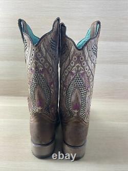 Bottes De L'ouest Pour Femmes 9 M Corral Studded/crystal Floral Leather Square Toe