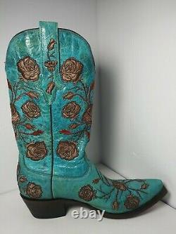 Bottes De Lucchese Couleur Turquoise Avec Roses Brodées Taille 9b IL Suffit De Stunning