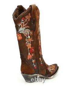 Bottes Pour Femmes Corral Lindsey Cowgirl Cowboy Brown A3597 Brodé Sz 6,5 8 Nib