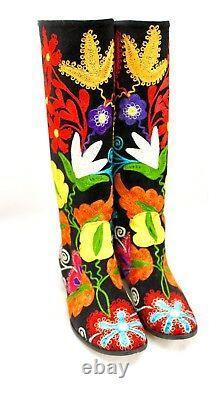 Bottes Turques Brodées À La Main Black Velvet Floral Women's 41/10 Nwt Wide Calf