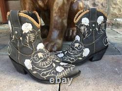 Bottines À La Broderie Florale Bottines De La Cheville À La Broderie Floral Boots Hippie Boho Noir 7m