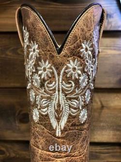 Broderie De Fleur De Botte D'orteil De Cowboy En Cuir Véritable De Femme De Cowboy Occidental