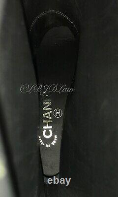 Chanel 16a Bottes Hautes Florales Brodées CC Logo Chaussures Talons 39,5 8,5/9