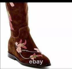 Chaussures Ash Jess Femmes Brodées Sur Les Bottes En Daim Genou 5b Nib
