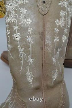 Corral 7.5 M Bone Floral Embroidery/swarovski Crystals Wedding Boots C3178 399 $