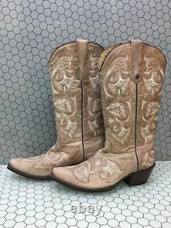 Corral Beige Leather Floral Stitch Snip Toe Cowgirl Boots Femme Taille 9,5 M