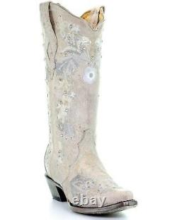 Corral Femme Blanc Floral Brodé Western Boot Snip Toe A3521
