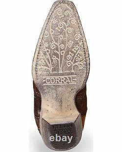 Corral Femme Floral Brodé En Cuir D'agneau Cowgirl Boot Snip Toe A3579