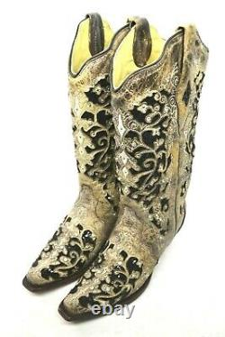 Corral Femmes 6,5 M Broderie Florale Brun & Black Sequin Inlay Bottes A3569