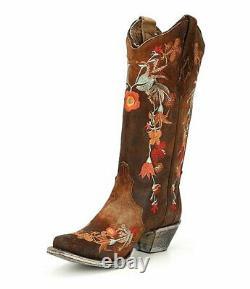 Corral Femmes Bottes Lindsey Cowgirl Cowboy Brown A3597 Brodé Sz 6,5 8 Nib