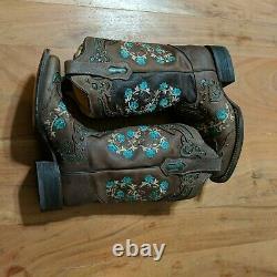 Corral Femmes Cloutés Broderie Florale Cowgirl Boot Square Toe Euc 8 M