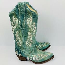 Corral Femmes Cowboy Bottes De L'ouest Sz 5 M Turquoise Bleu Jamais Porté Avec Boîte