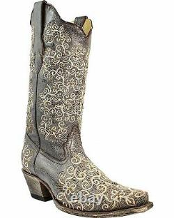 Corral Femmes Gris Floral Brodé Studs And Crystals Cowgirl Boot Snip R1408