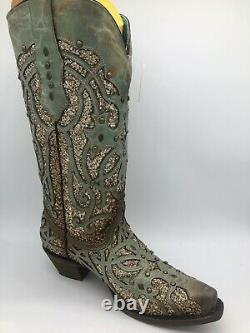 Corral Femmes Luminary Glitter Inlay Stud Snip Cuir Cowgirl Boots Turquoise 7