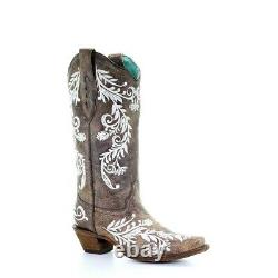 Corral Ladies Brown & White Embroidery Boots A3753