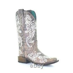 Corral Ladies Brown With White Embroidery Square Toe Boots A4063