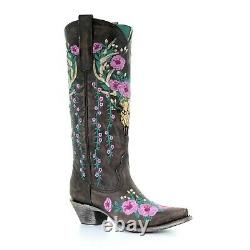 Corral Ladies Dark Brown Skull Overlay & Floral Embroidery Boot A3621