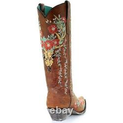 Corral Ladies Tan Deer Skull Overlay & Floral Embroidery Boots A3620