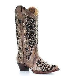 Corral Mesdames Brown Floral Broderie Et Noir Sequin Inlay Bottes A3569
