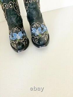 Corral Noir Bleu Floral Brodé Bottes De L'ouest 6