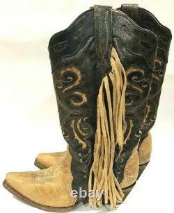 Corral Vintage Distressed Embroidered Fringe Boots Femmes 9,5 Floral Brown 280 $