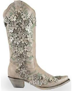 Corral Women's White Floral Overlay Embroidered Stud And Crystals Cowgirl Boot