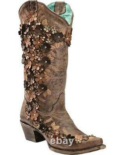 Cowgirl Boot De Cowgirl Sur Le Tabac Coral Femmes Superposition Florale Brodée Stud Et Cristaux Cowgirl Boot