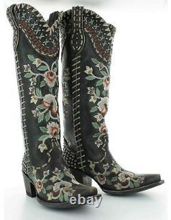 Ddl026-2 Double D Ranch Presque Célèbre Noir Brodé Floral Tall Boots
