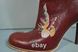 Dior 36,5 Brown Tapestry Cuir Brodé Floral Bottines À Bout Rond Bootie