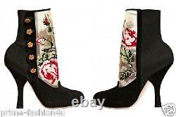Dolce & Gabbana Black Suede Baroque Floral Antique Gold Roses Tapisseries Bottes