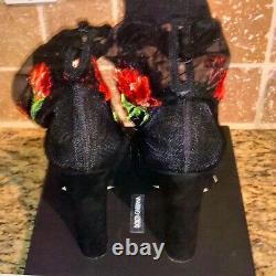 Dolce & Gabbana Bottes Brodées Florales Nouveau 1500 $ Taille 8 Ou 8.5us It39