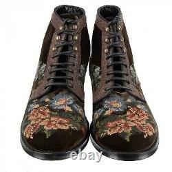 Dolce & Gabbana Bottes En Velours Brodé Crocodile Siracusa Brown 44 Us 11 09063
