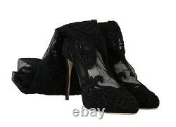Dolce & Gabbana Chaussures Black Floral Lace Booties Heels S. Eu39 / Us8.5 Rrp $1700