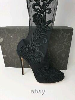 Dolce & Gabbana Floral Brodé Sur Les Bottes De Chaussettes De Genou Noir £1300