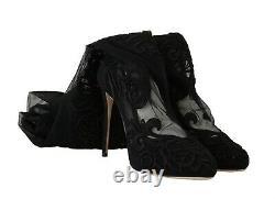 Dolce & Gabbana Shoes Black Floral Lace Booties Heels S. Eu38.5 / Us8 Rrp $1700