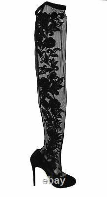 Dolce & Gabbana Shoes Chaussures Chaussures Noires De Dentelle Florale Booties Talons Eu39/us8.5