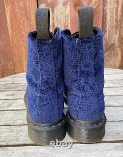 Dr Martens 1460 Brocade Velvet Velour Royal Blue Bottes De Combat Taille Femme 7