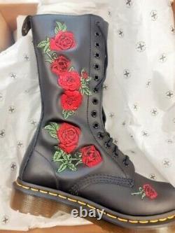 Dr Martens Noir Rouge Brodé Ronda 1914 Roses High Boot 4 Bnwb Doc Martins