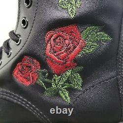 Dr Martens Vonda 14-eye Bottes De Combat Femmes Taille 6 Roses Noires 12761001
