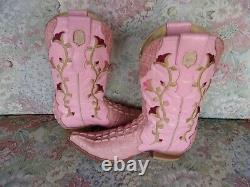 El Gran Caiman Alligator Leather Embroidered Cowboy Boots Femmes 25,5 Us 7,5- 8