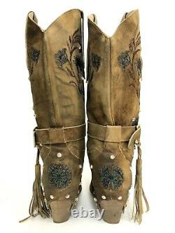 El Vaquero Femmes 39 Valerio Giuntoli Italie Brown Leather Crystal Studs Boots 8