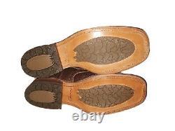 Etats-unis Fait Double-h Men's Squaretoe Boots. États-unis 10. Sur Le Modèle Occidental. Bleu & Brun