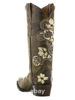 Femme Brun Floral Brodé Western Cowgirl Boots Snake Leather Snip Toe