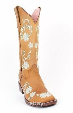 Femme Quincy Genuine Crazy Leather Western Boots Wide Square Toe Floral Design