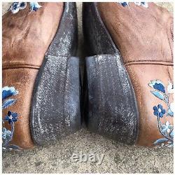 Femme Vieux Gringo En Cuir En Détresse Brodé Floral Cowboy Boot 8 1/2 B