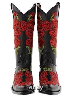 Femmes Black Rose Flower Brodées Roses Western Leather Cowgirl Boots Snip