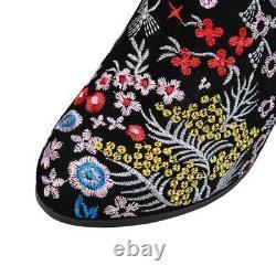 Femmes Brodé Block Talon Floral Bottes De Cheville Ethnie Pattern Chaussures Casual Nouveau